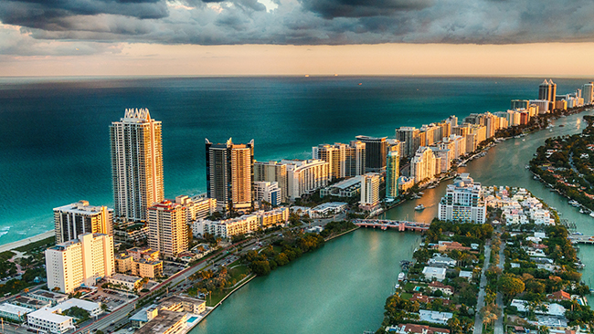 An aerial view of Miami Florida