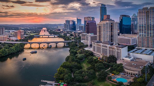 An aerial view of Austin Texas