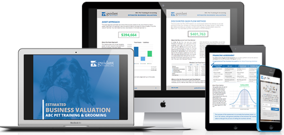 screenshots of Business Valuation Solutions
