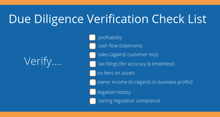 checkboxes on basic due diligence you should do before purchasing a business