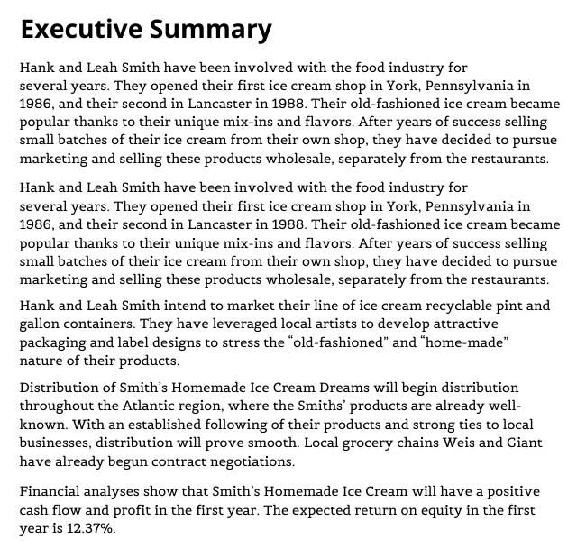 Example of an executive summary.