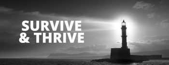 hero image - lighthouse with survive and thrive text